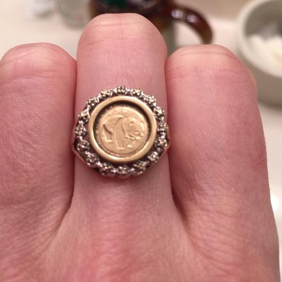 29f768647857c 1983 vintage 10kt gold panda coin ring.