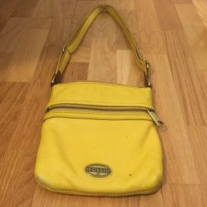 Yellow Leather Fossil Shoulder Bag
