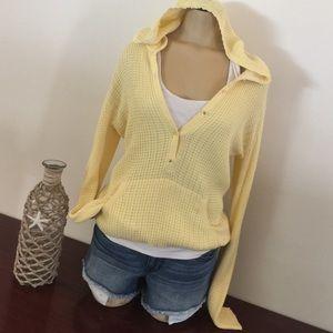Sweet Romeo Sweaters - Hooded yellow sweater