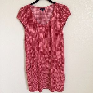 Gap Red Starbust Polka Dot Cap Sleeve Pocket Dress