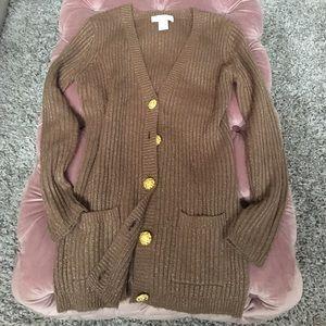 Soft Surroundings! Metallic brown button cardigan