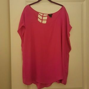 Torrid Pink cutout back short sleeve top