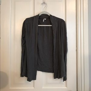 Dark grey cardigan. Buttonless