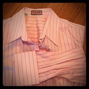 Thomas Pink Tops - Pink Pink Stipe Herringbone Weave Shirt