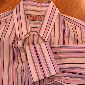 Thomas Pink Tops - Striped Button Down Thomas Pink Shirt