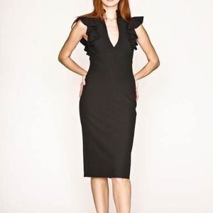 "Black Halo Dresses & Skirts - Black Halo Deklyn Sheath dress w ""keyhole,"" ruffle"