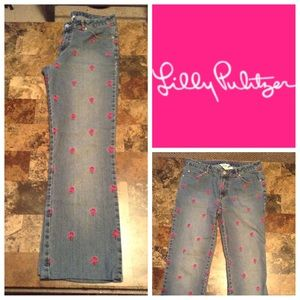 Lilly Pulitzer Denim - Lilly Pulitzer Pink Palm Tree Embroidered Jeans