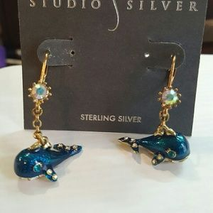 Betsey Johnson blue whale earrings