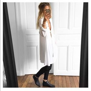 Free People long white collared button down