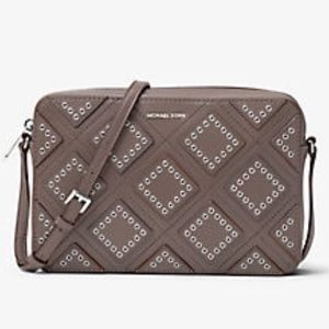 NWT Michael Kors gray Diamond Grommet crossbody
