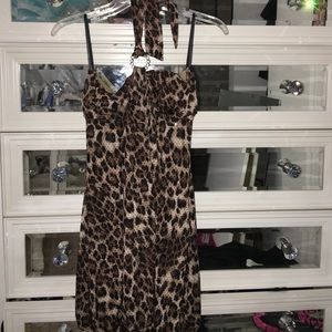 Dresses & Skirts - Leopard halter/strapless dress with sequins