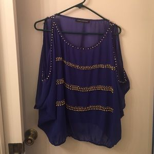 Foreign Exchange Tops - Open shoulder beaded blouse