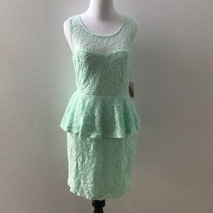 Mint lace peplum dress