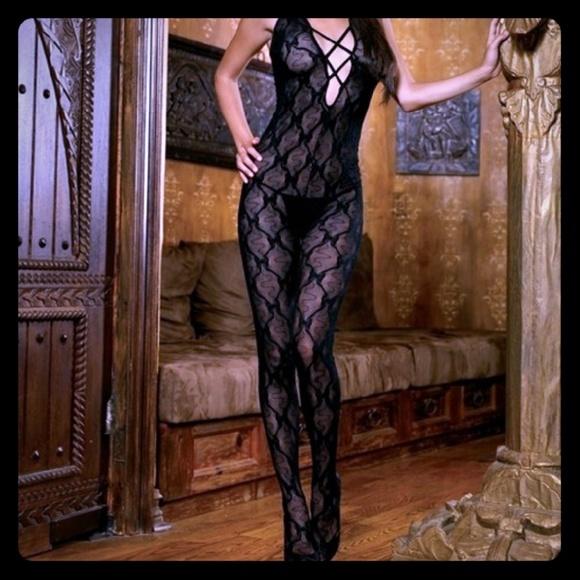 bbc47ed051e Butterfly lace criss cross front bodystocking. Boutique. leg avenue