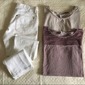 Dantelle Tops - Lavender and cream loose fitted tops.
