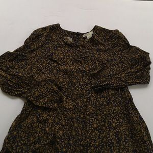 H&M shift dress size 4 blue and gold pattern