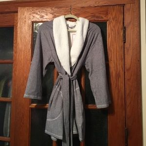 Other - Soft gray fleece robe w/ wool collar
