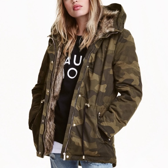 16% off H&M Jackets & Blazers - H&M Padded Parka Camouflage Coat ...