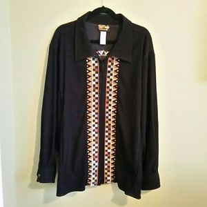 Bob Mackie zip front printed jacket