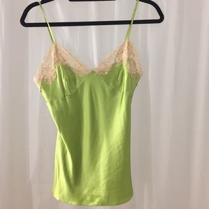 henri bendel Tops - Green Silk and Ivory Lace Camisole
