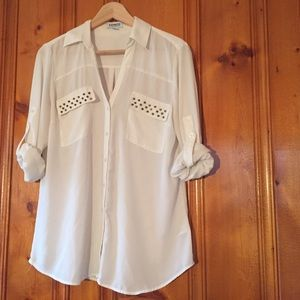 Express Tops - Express white studded long sleeve shirt