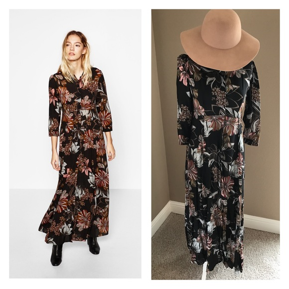 63fe06c72359 Zara Dresses | Floral Print Shirt Maxi Dress | Poshmark