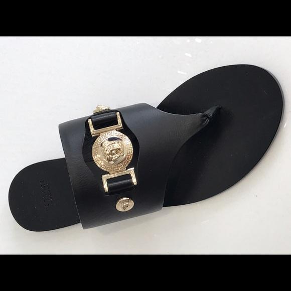 c27bf56c8cdc Versace Calf Leather Thong Sandal