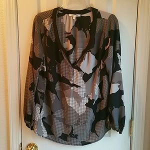 Quintessential Tops - QUINTESSENTIAL BLACK, GRAY & TAUPE L/S BLOUSE
