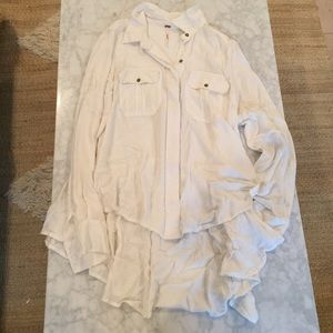 Free People High Low Button Up Shirt