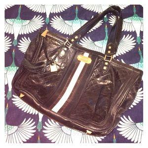 L.A.M.B. Handbags - L.A.M.B Black Leather Gold Handbag
