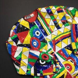 MODI Funky Multicolored Vintage Sequin Jacket