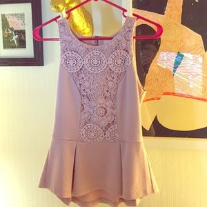 Staring at Stars Tops - Embroidered front blush peplum top
