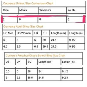 converse unisex size chart