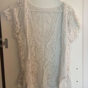 Tops - Lace camisole cover up cardigan