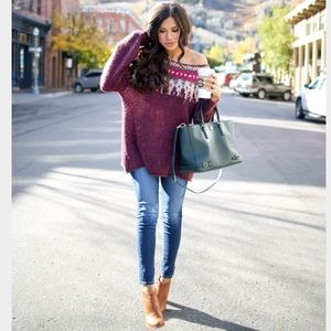 Free People Fair Isle off the shoulder sweater