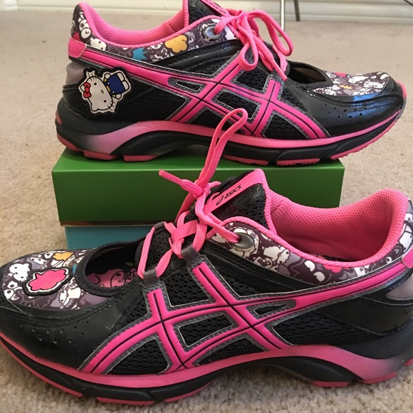 Black and Hot Pink Asics Hello Kitty Running Shoes