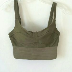 Olive Green Bustier Crop top XS