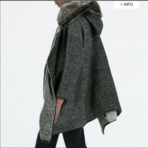 Zar faux fur collar hood grey jacket coat