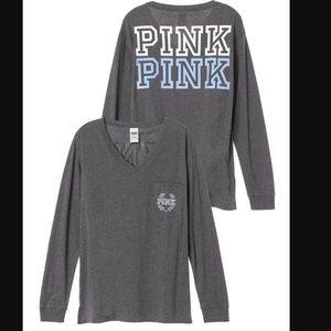 Victoria's Secret pink vneck campus long sleeve