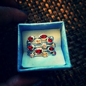 Multi color sterling silver ring