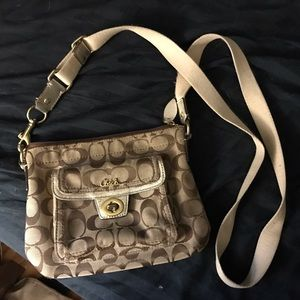 Coach Crossbody brown and gold