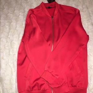 Topshop Jackets & Blazers - Red Satin Bomber