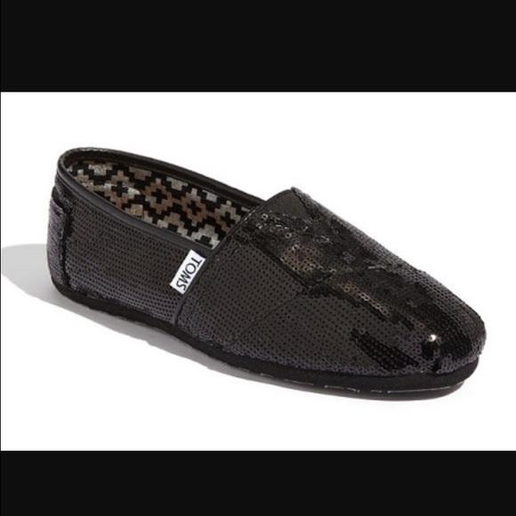 27e0948f7489 Toms Classic Black Sequin Flats Slip On Shoes. M_58854ed42de512df2302823e