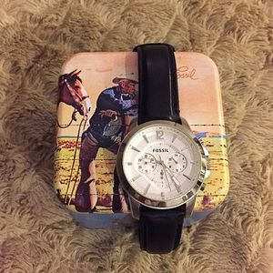 Men's Fossil Grant Leather Watch - Black