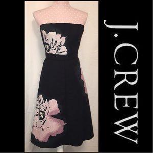 J. Crew Dresses & Skirts - J.Crew Strapless Black Floral Dress