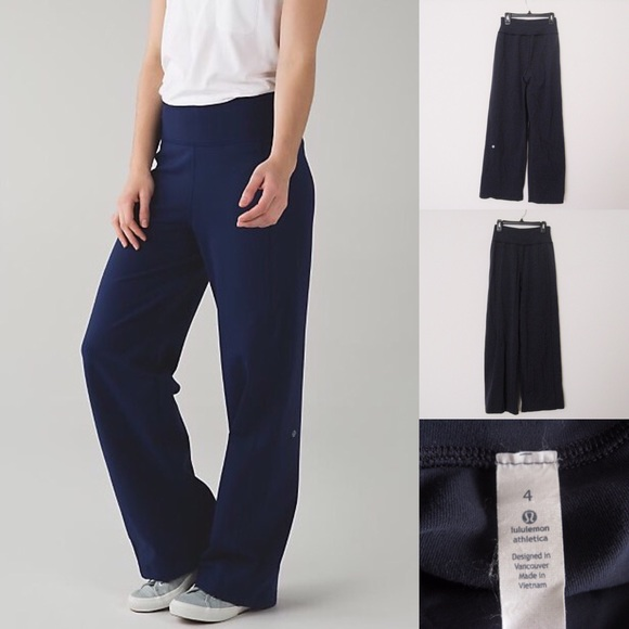 63% off lululemon athletica Pants - Lululemon Navy Wide Leg Yoga ...