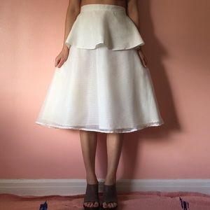River Island Dresses & Skirts - River Island Sheer Stripe Layered Midi Skirt
