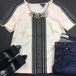 Ann Taylor Black Lace Cream Short Sleeve Top