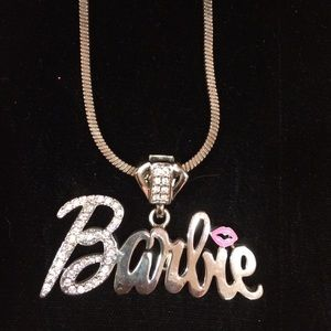 Barbie Jewelry - Barbie logo sequined lip necklace silver