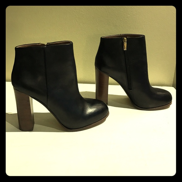 Vince Camuto Black Leather Booties With Wood Heel